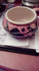 vase large rond style mosaique largeur 23 cm hauteur 12 cm
