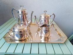 service à café et thé en métal argenter complet