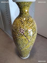 Grand vase mosaique vert neuf