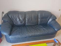 Canapé avec fauteuil en cuir