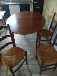 Lot table + chaises bois