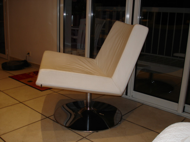 fauteuil relax cuir blanc