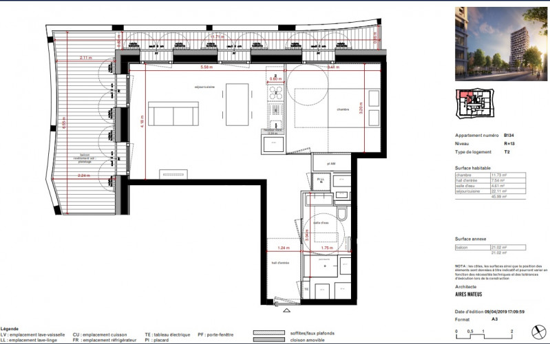 exceptionnel T2 avec grande terrasse - 23286