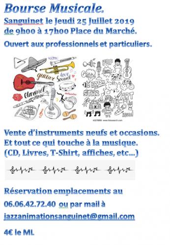 Bourse musicale Sanguinet (40) le Jeudi 25 Juillet 2019 de 9h000 à 17h00