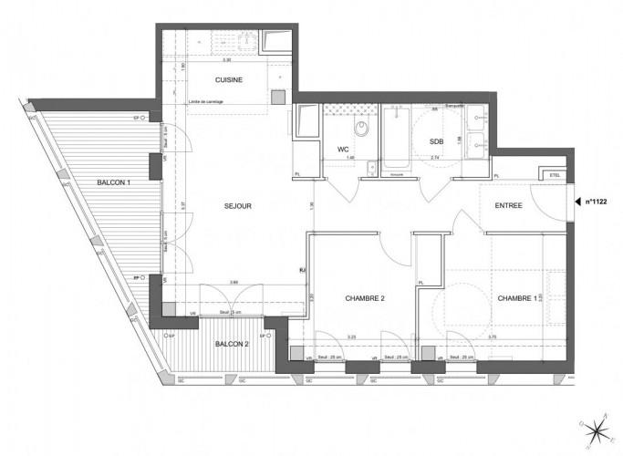 Appartement de 3 pièces - Paris 13