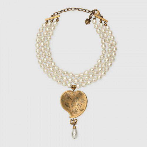 Collier Perle avec Pendentif Cœur