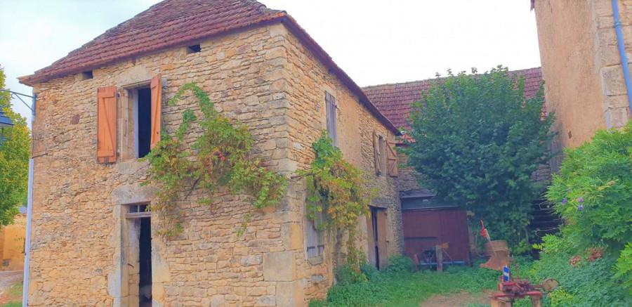 Maison de bourg en pierres T7 à restaurer avec petit jardin