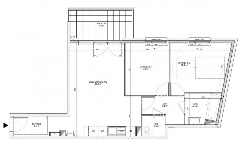 ECULLY - T3 au 2ème étage 60 m² avec balcon et garage proche